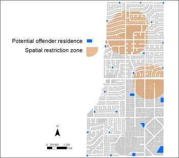 Map with sample spatial analysis