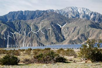 Wind turbines and solar panel arrays near Palm Springs, CA