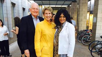 Souad Ali with Barbara and Craig Barrett, who endowed Barrett, the Honors College