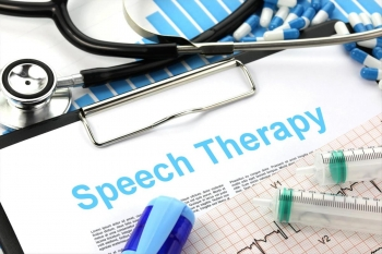 Photo collage of a clipboard, stethescope and medications surrounding the words speech therapy