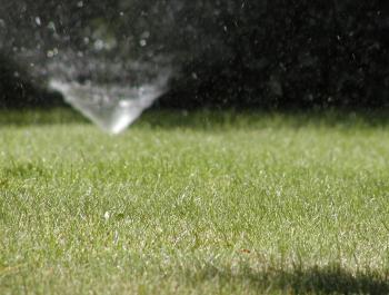 sprinker watering lawn
