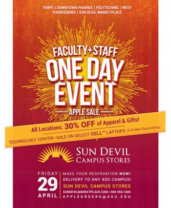 Poster for faculty/staff sale at bookstores