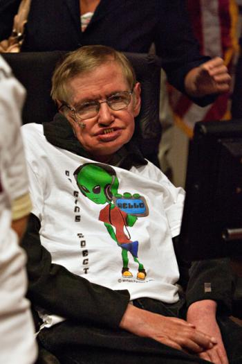 children with Stephen Hawking and scientists at Arizona State University