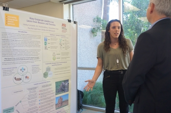Sustainability student Hailey Campbell presents her research at the Student Showcase in Spring 2019.