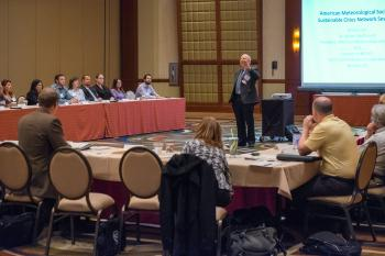 weather experts present findings to Sustainable Cities Network members