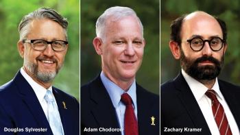 Photo of former ASU Law Dean Douglas Sylvester and Co-Interim Deans Adam Chodorow and Zachary Kramer