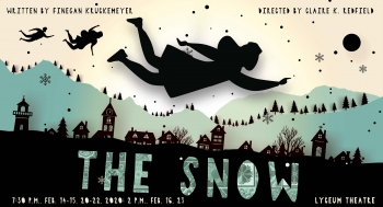 silhouette of a girl flying over a town while it snows