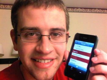 Tim Johsen displays a new mobile app