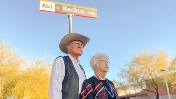 man and woman standing in front of street sign