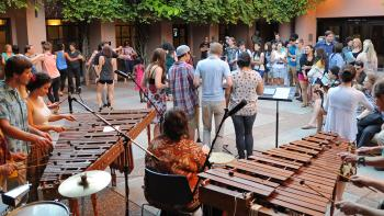 music community in courtyard