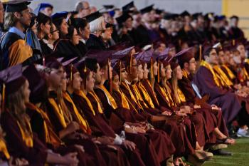 row of students during ASU undergraduate commencement ceremony