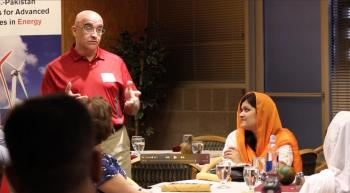 Sayfe Kiaei, director of U.S.-Pakistan Centers for Advanced Studies in Energy and a professor of electrical engineering in the Ira A. Fulton Schools of Engineering, welcomes the second cohort of Pakistani exchange students to ASU for the fall semester