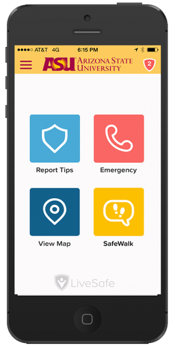 screenshot of the ASU LiveSafe mobile app