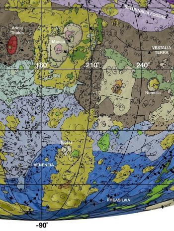 Vesta's geological map Veneneia, Rheasilvia, Marcia impacts