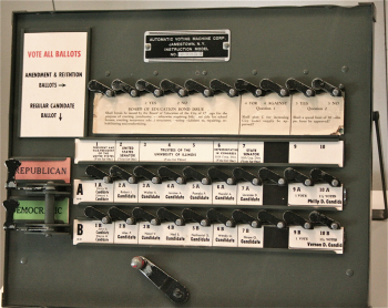 Demo version of lever style voting machine on display at the National Museum of American History