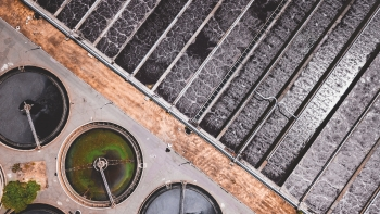 overhead view of a water treatment facility