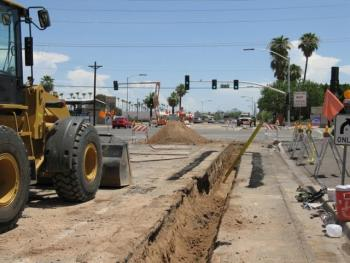 Street trench and truck, road construction
