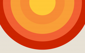 An iconic image of the sun, made up of semicircular arcs of different colors: yellows, oranges, and reds.