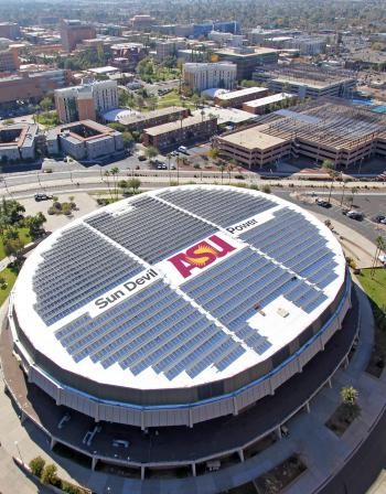 An aerial view of top of Wells Fargo Arena