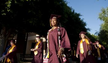 ASU New College graduates walking to commencement