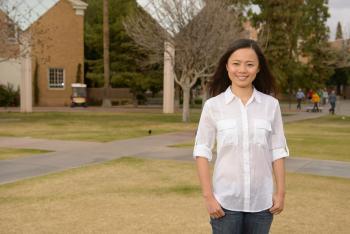 ASU student Xiaojie Li on Hayden Lawn