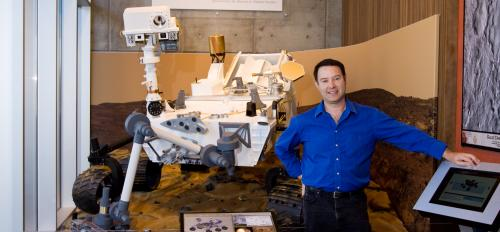 Jim Bell with MSL replica
