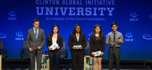ASU students standing on stage at CGI U 2014
