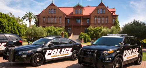 new ASU police vehicles in black-and-white