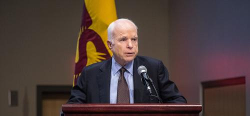 Sen. John McCain speaks at an ASU cybersecurity conference
