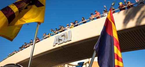 people standing on University Bridge