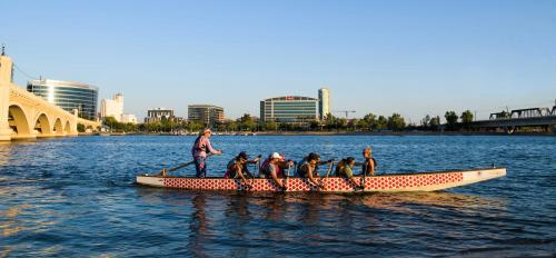 Phoenix Desert Dragons team rows on Tempe Town Lake