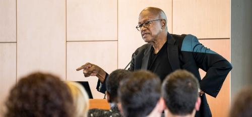 Yale ethnographer Elijah Anderson speaks at a Global Sport Institute event at ASU.