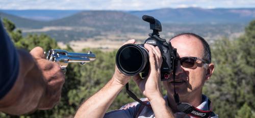 ASU Now videographer Ken Fagan takes video of a revolver