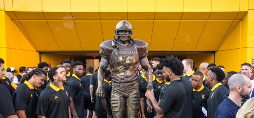 Players view Tillman Statue for first time