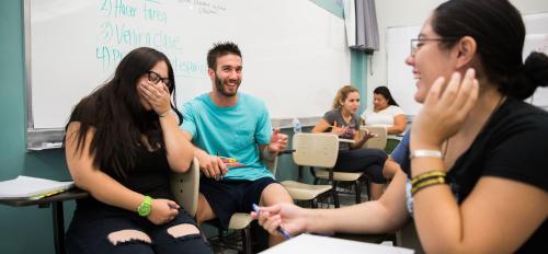 Craig Mahaffy makes fellow Spanish heritage language students laugh.