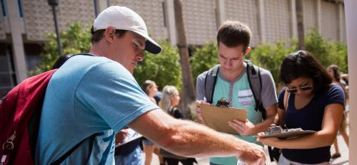 ASU students vote in a mock ballot