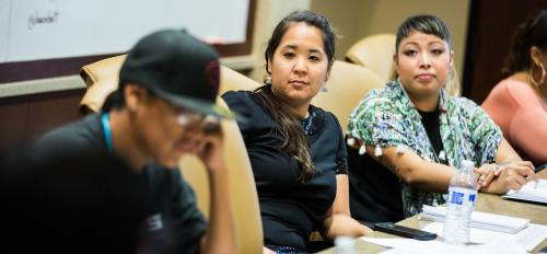 Native entrepreneurs listen during a seminar