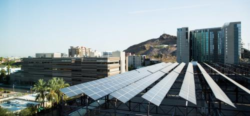 solar panels on parking garage roof