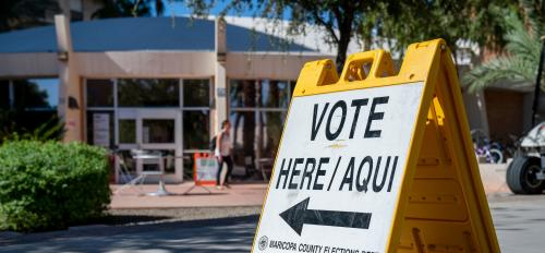 """Vote here"" sign on ASU Tempe campus"