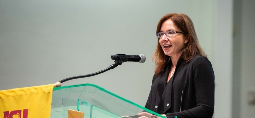 Climate scientist and Texas Tech professor of political science Katharine Hayhoe speaks at an ASU climate lecture
