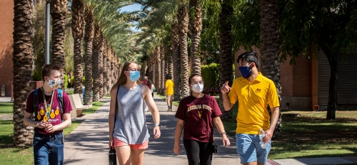 students wearing masks on ASU's Tempe campus