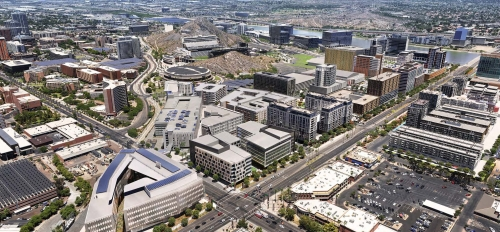 Aerial rendering of the Novus Innovation Corridor at future completion, looking northwest from University and Rural