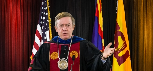 A screenshot of ASU President Michael Crow during the virtual fall 2020 commencement