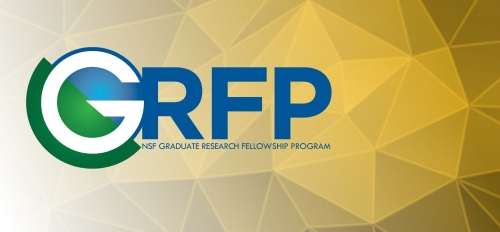 National Science Foundation Graduate Research Fellowship Program logo on an abstract gold background.