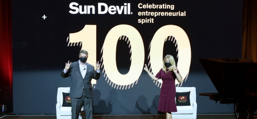 The Sun Devil 100 Class of 2020 event was hosted by Ray Schey, publisher of the Phoenix Business Journal, and Kylee Cruz, reporter and anchor for AZ Family and a graduate of the Walter Cronkite School of Journalism and Mass Communication at ASU.