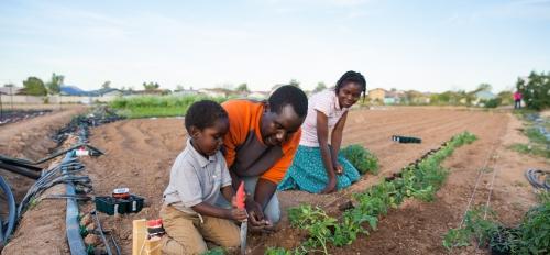 family planting in community garden
