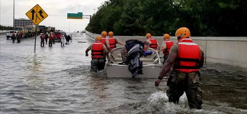 Boat rescue in Houston during Hurricane Harvey