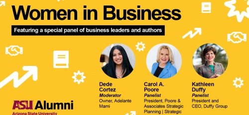 "flyer advertising ASU Alumni Association event ""Women in Business"""