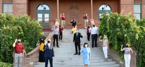 Members of the ASU Leadership Class 3 pose on the steps of Old main at the Tempe campus