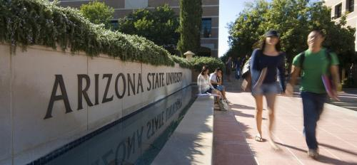 ASU students walk down campus mall